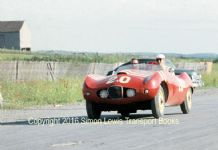 Arnolt-Bristol at Watkins Glen, Seneca Cup, 1957. Unknown driver. Colour photo